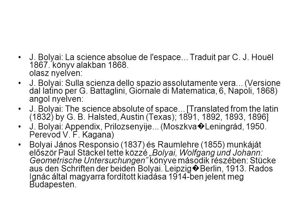 J. Bolyai: La science absolue de l espace... Traduit par C. J. Houël 1867. könyv alakban 1868. olasz nyelven: