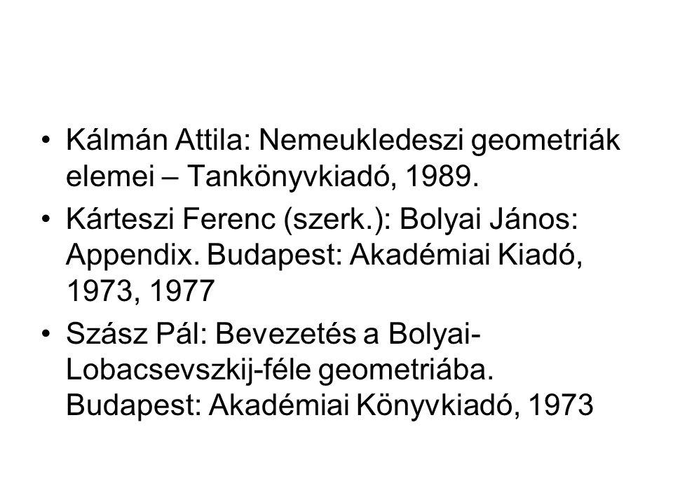 Kálmán Attila: Nemeukledeszi geometriák elemei – Tankönyvkiadó, 1989.