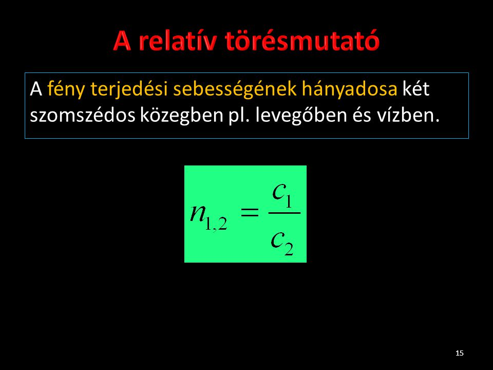 A relatív törésmutató A fény terjedési sebességének hányadosa két szomszédos közegben pl.