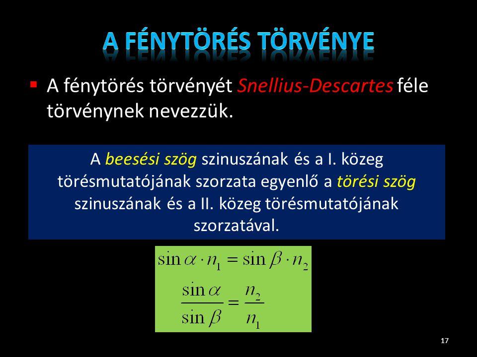 A fénytörés törvénye A fénytörés törvényét Snellius-Descartes féle törvénynek nevezzük.
