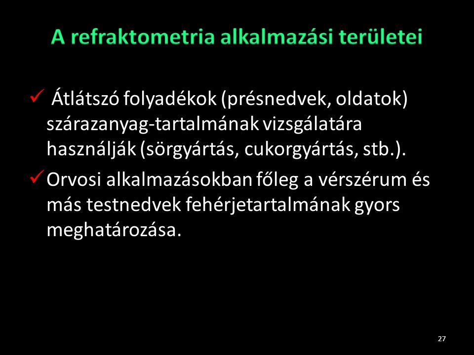 A refraktometria alkalmazási területei