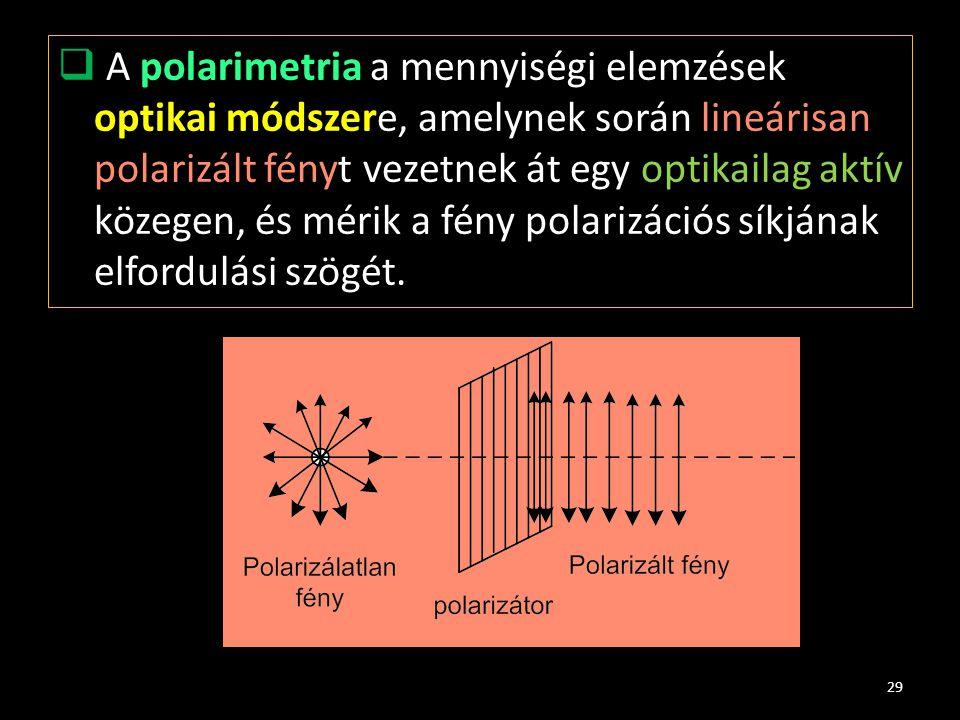 A polarimetria a mennyiségi elemzések optikai módszere, amelynek során lineárisan polarizált fényt vezetnek át egy optikailag aktív közegen, és mérik a fény polarizációs síkjának elfordulási szögét.