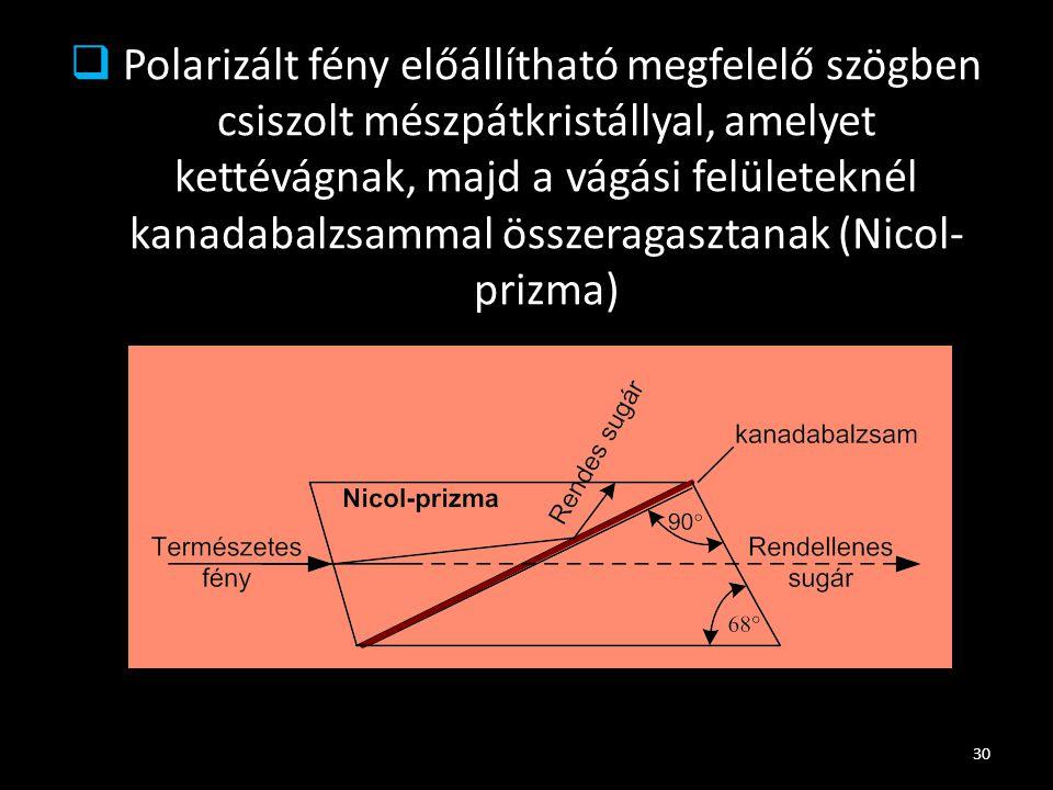 Polarizált fény előállítható megfelelő szögben csiszolt mészpátkristállyal, amelyet kettévágnak, majd a vágási felületeknél kanadabalzsammal összeragasztanak (Nicol-prizma)