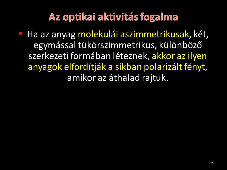 Az optikai aktivitás fogalma
