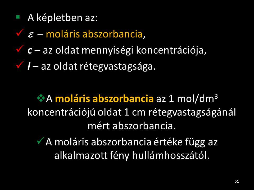 A képletben az:  – moláris abszorbancia, c – az oldat mennyiségi koncentrációja, l – az oldat rétegvastagsága.
