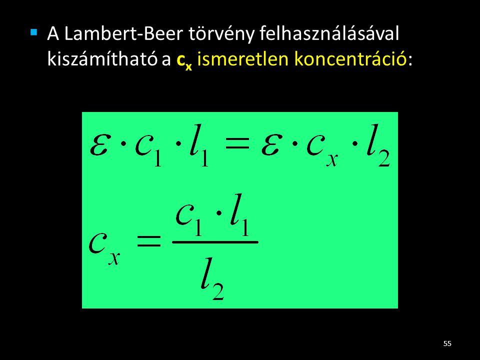 A Lambert-Beer törvény felhasználásával kiszámítható a cx ismeretlen koncentráció:
