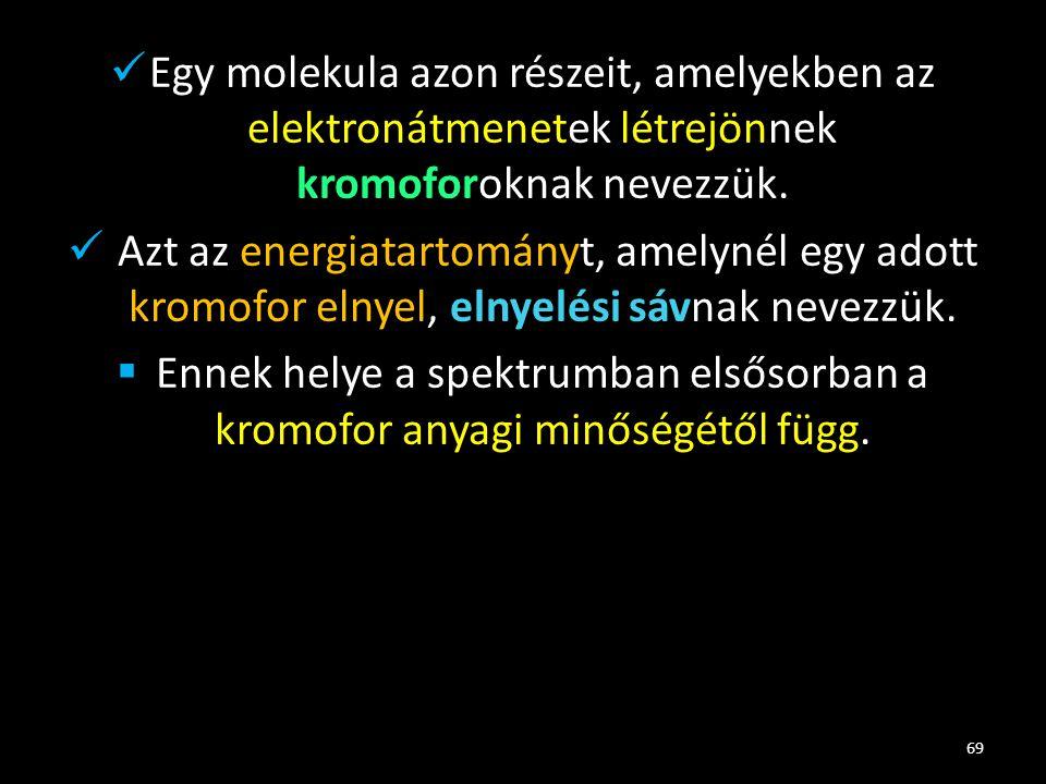 Egy molekula azon részeit, amelyekben az elektronátmenetek létrejönnek kromoforoknak nevezzük.