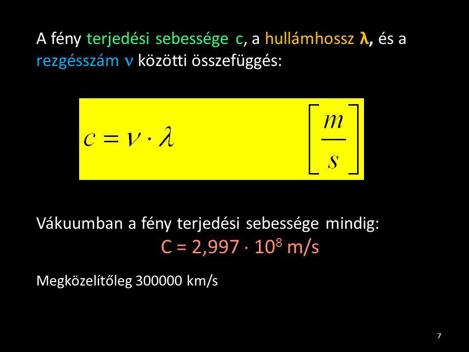 Vákuumban a fény terjedési sebessége mindig: C = 2,997  108 m/s