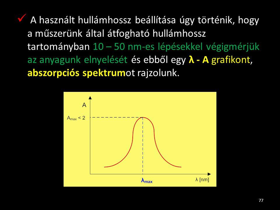 A használt hullámhossz beállítása úgy történik, hogy a műszerünk által átfogható hullámhossz tartományban 10 – 50 nm-es lépésekkel végigmérjük az anyagunk elnyelését és ebből egy λ - A grafikont, abszorpciós spektrumot rajzolunk.