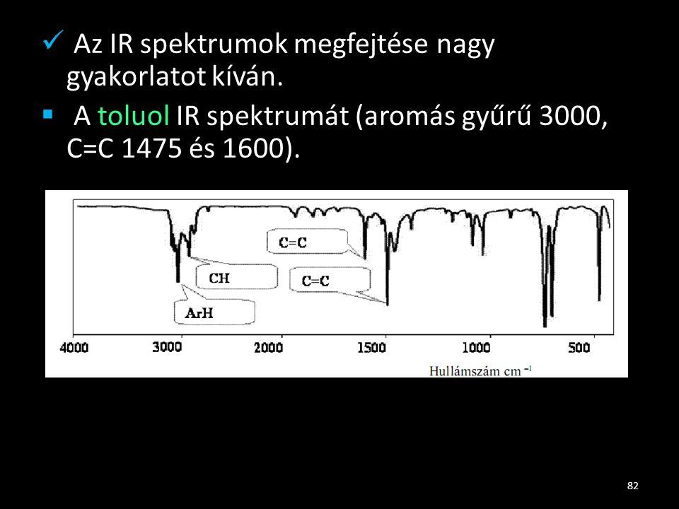 Az IR spektrumok megfejtése nagy gyakorlatot kíván.
