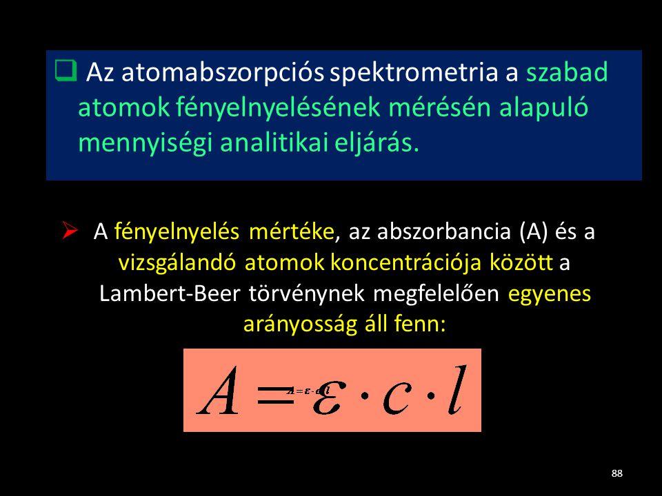 Az atomabszorpciós spektrometria a szabad atomok fényelnyelésének mérésén alapuló mennyiségi analitikai eljárás.