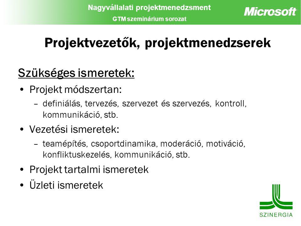 Projektvezetők, projektmenedzserek