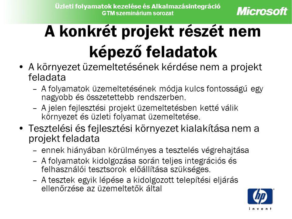 A konkrét projekt részét nem képező feladatok