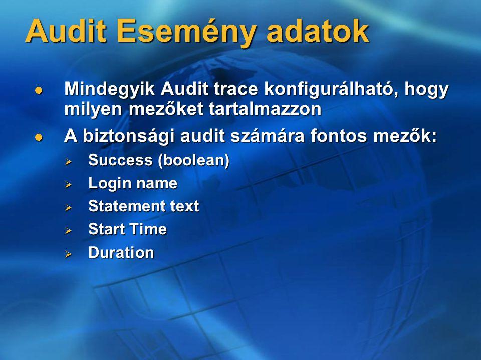 Audit Esemény adatok Mindegyik Audit trace konfigurálható, hogy milyen mezőket tartalmazzon. A biztonsági audit számára fontos mezők: