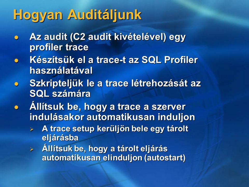 Hogyan Auditáljunk Az audit (C2 audit kivételével) egy profiler trace