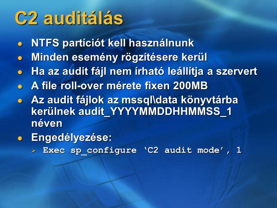 C2 auditálás NTFS partíciót kell használnunk