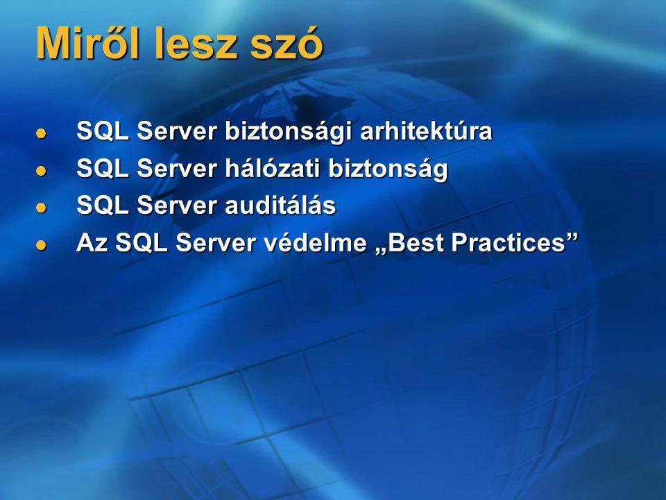 Miről lesz szó SQL Server biztonsági arhitektúra