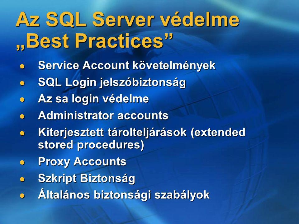 """Az SQL Server védelme """"Best Practices"""