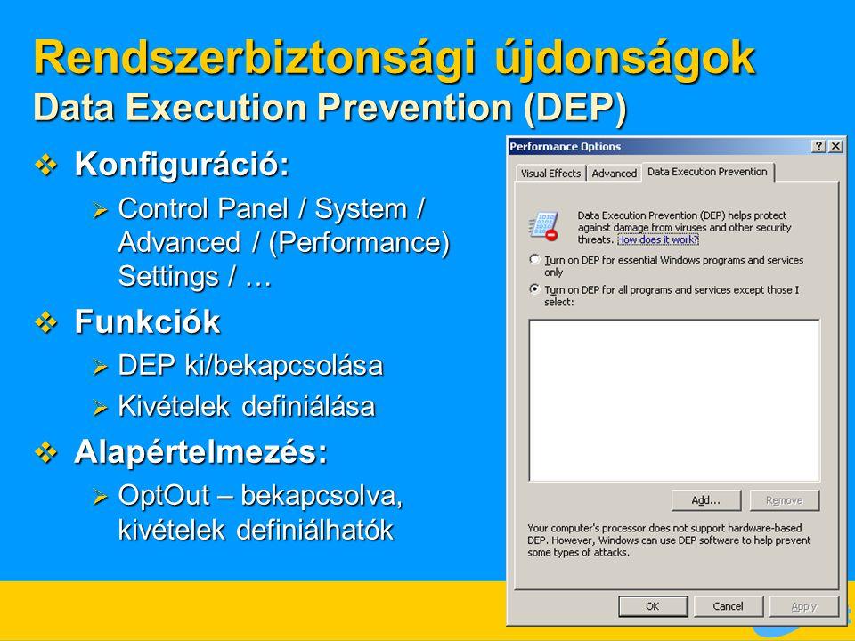 Rendszerbiztonsági újdonságok Data Execution Prevention (DEP)