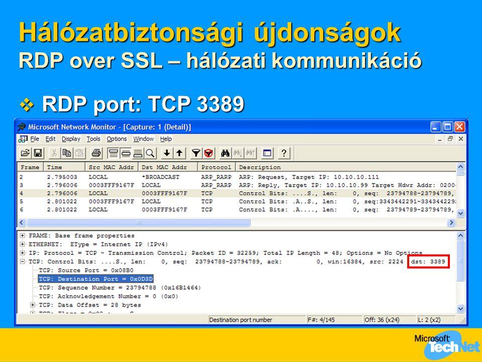 Hálózatbiztonsági újdonságok RDP over SSL – hálózati kommunikáció