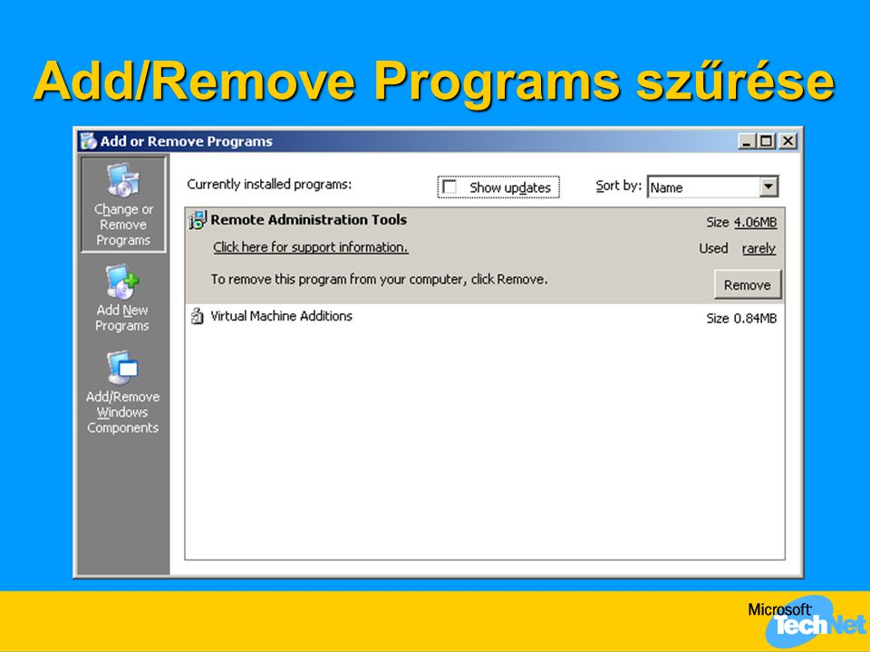 Add/Remove Programs szűrése