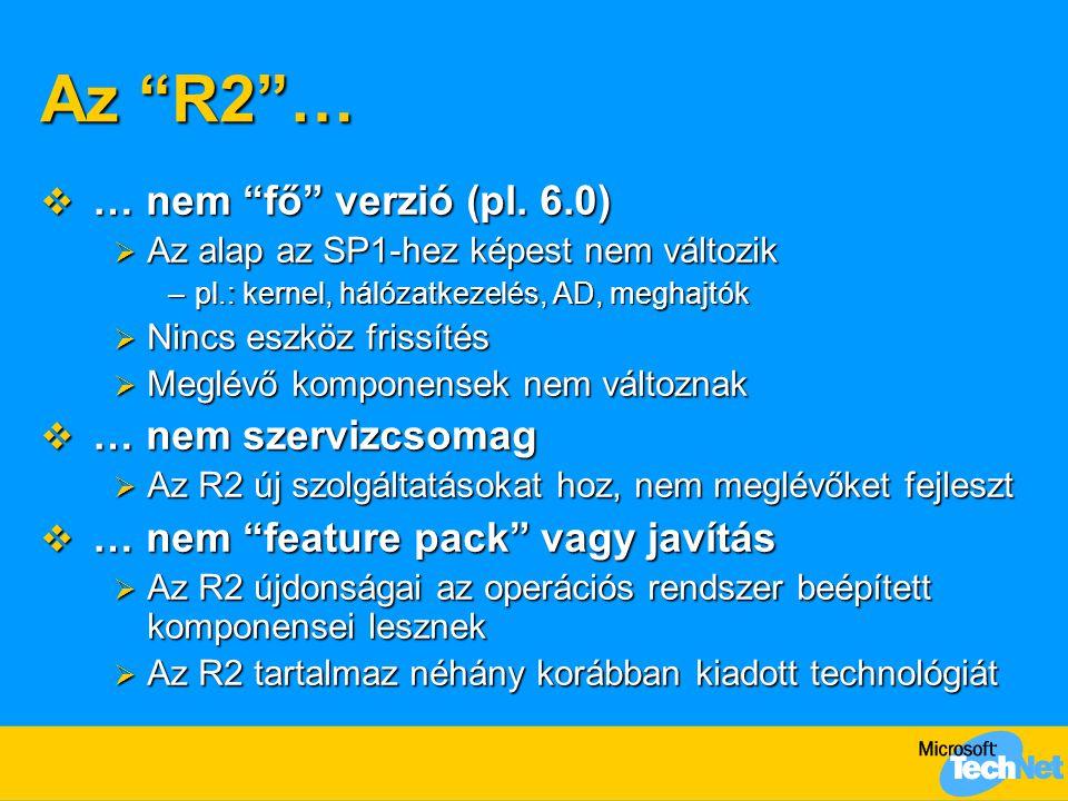 Az R2 … … nem fő verzió (pl. 6.0) … nem szervizcsomag