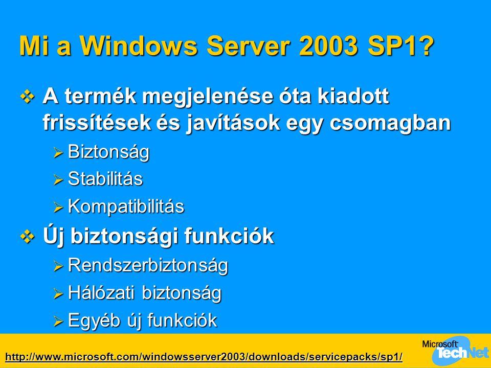 Mi a Windows Server 2003 SP1 A termék megjelenése óta kiadott frissítések és javítások egy csomagban.
