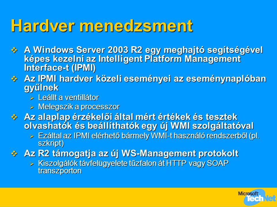 Hardver menedzsment A Windows Server 2003 R2 egy meghajtó segítségével képes kezelni az Intelligent Platform Management Interface-t (IPMI)