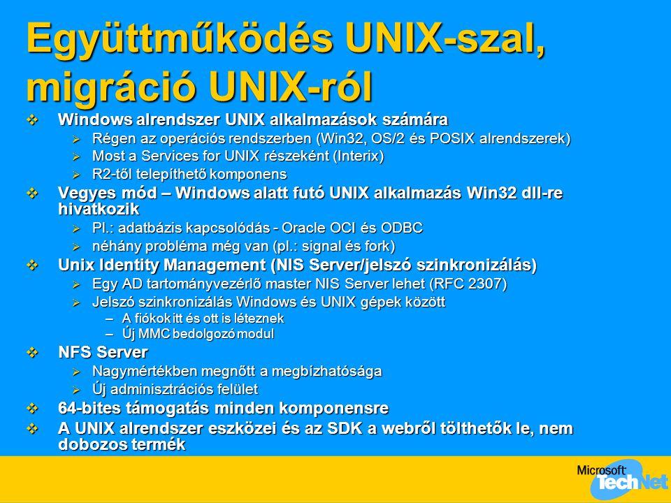 Együttműködés UNIX-szal, migráció UNIX-ról