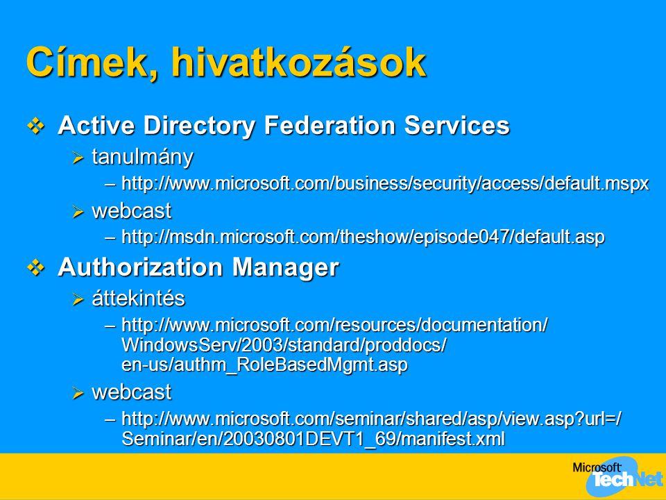 Címek, hivatkozások Active Directory Federation Services