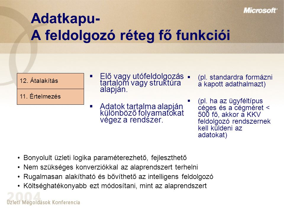 Adatkapu- A feldolgozó réteg fő funkciói
