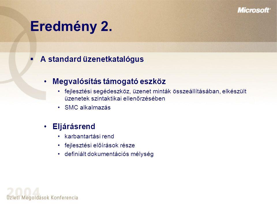 Eredmény 2. A standard üzenetkatalógus Megvalósítás támogató eszköz
