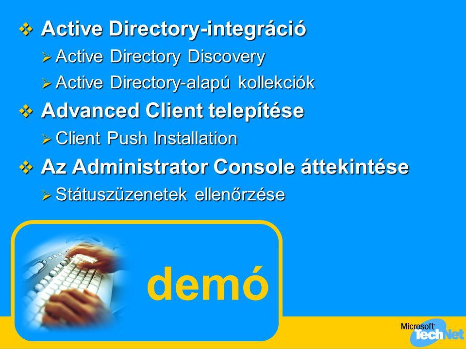 demó Active Directory-integráció Advanced Client telepítése
