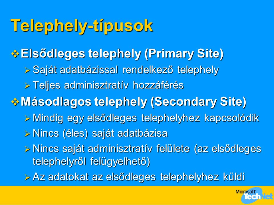 Telephely-típusok Elsődleges telephely (Primary Site)