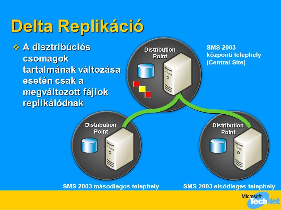 Delta Replikáció A disztribúciós csomagok tartalmának változása esetén csak a megváltozott fájlok replikálódnak.