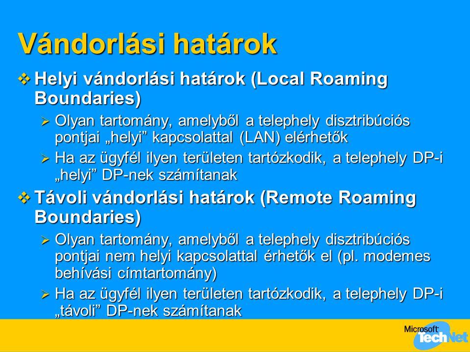 Vándorlási határok Helyi vándorlási határok (Local Roaming Boundaries)