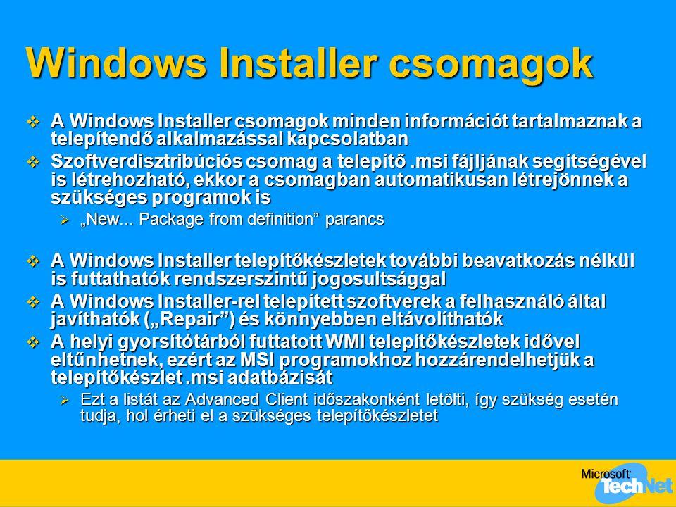 Windows Installer csomagok