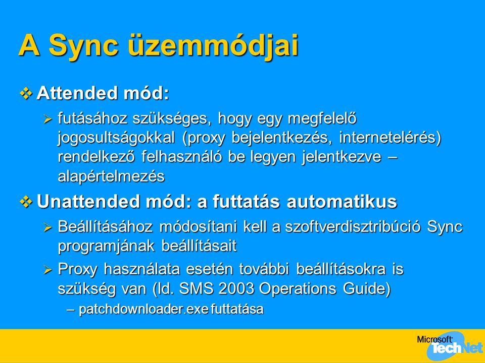 A Sync üzemmódjai Attended mód: Unattended mód: a futtatás automatikus