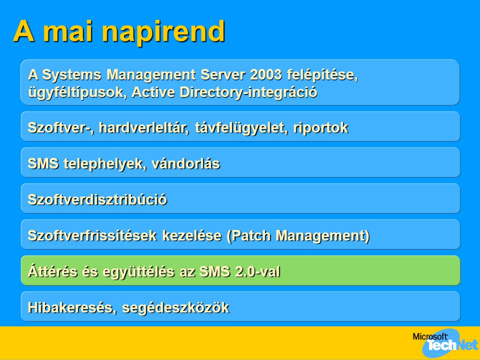 A mai napirend A Systems Management Server 2003 felépítése, ügyféltípusok, Active Directory-integráció.