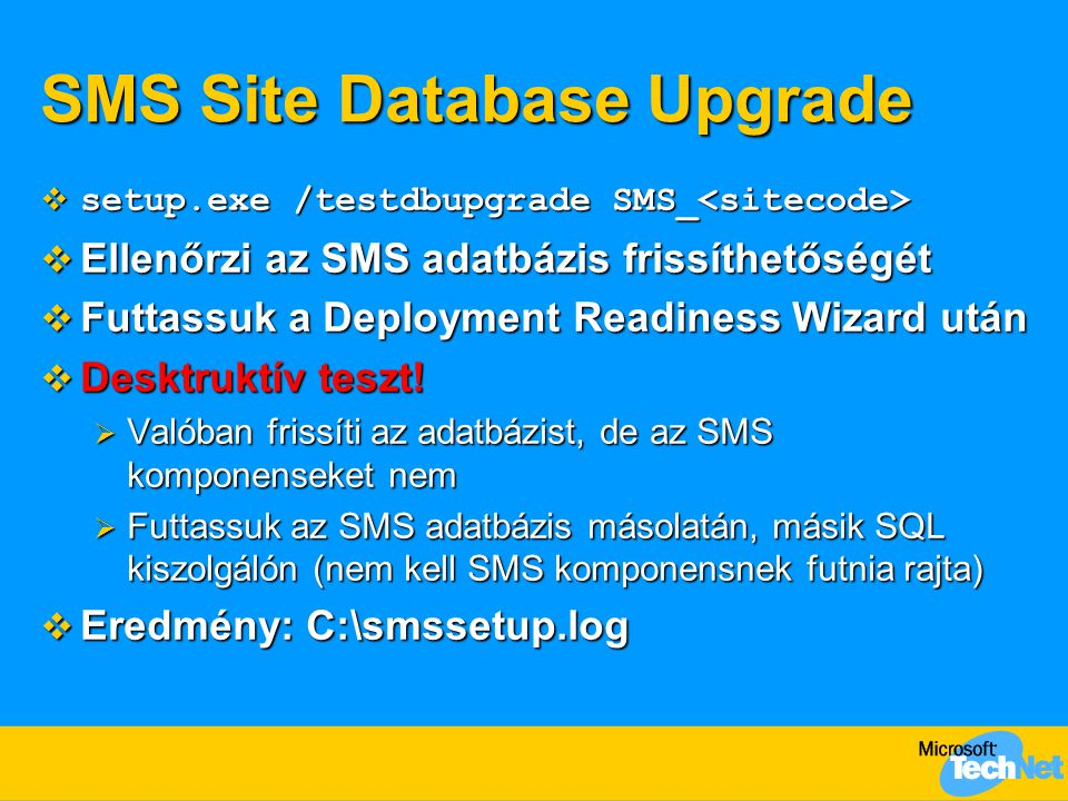 SMS Site Database Upgrade