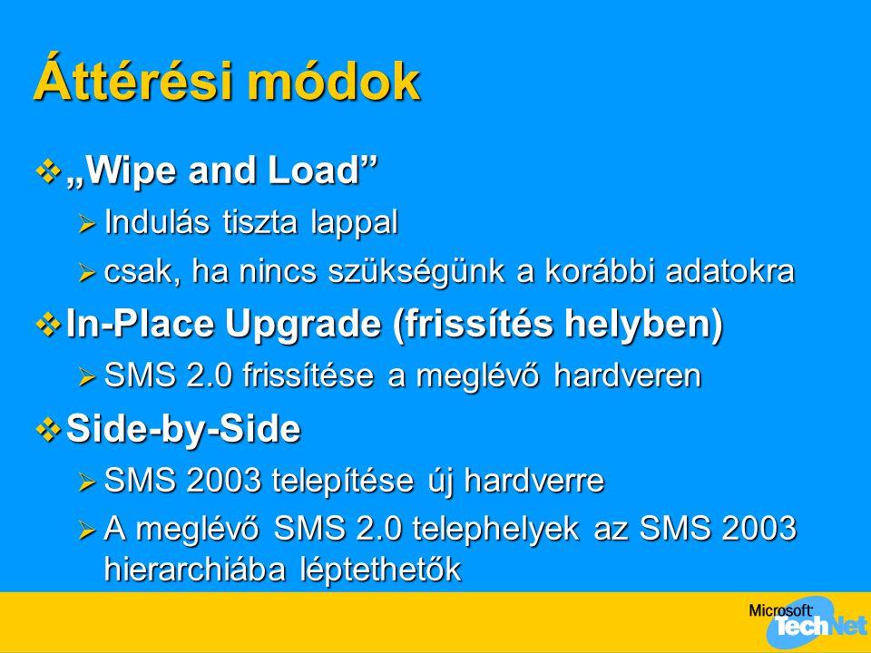 """Áttérési módok """"Wipe and Load In-Place Upgrade (frissítés helyben)"""