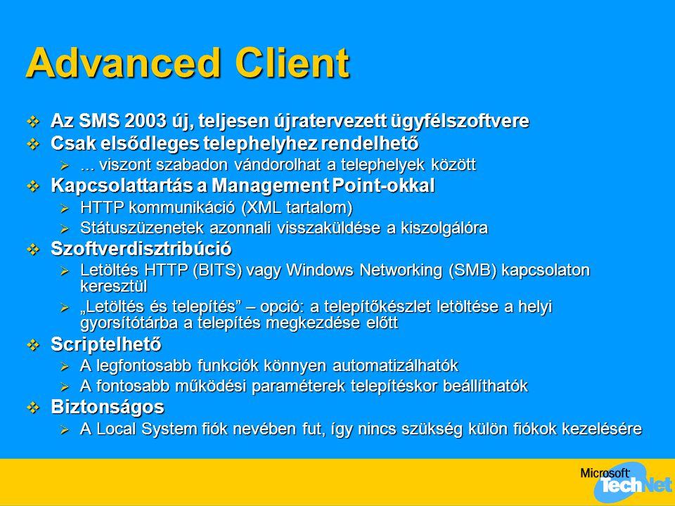Advanced Client Az SMS 2003 új, teljesen újratervezett ügyfélszoftvere
