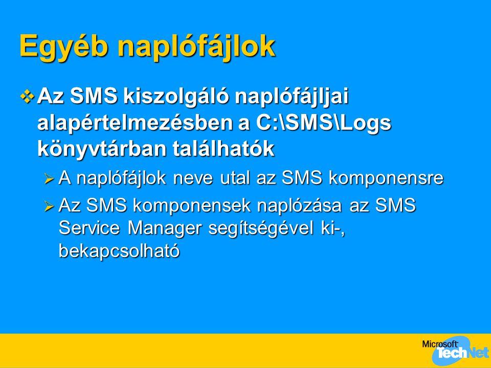 Egyéb naplófájlok Az SMS kiszolgáló naplófájljai alapértelmezésben a C:\SMS\Logs könyvtárban találhatók.