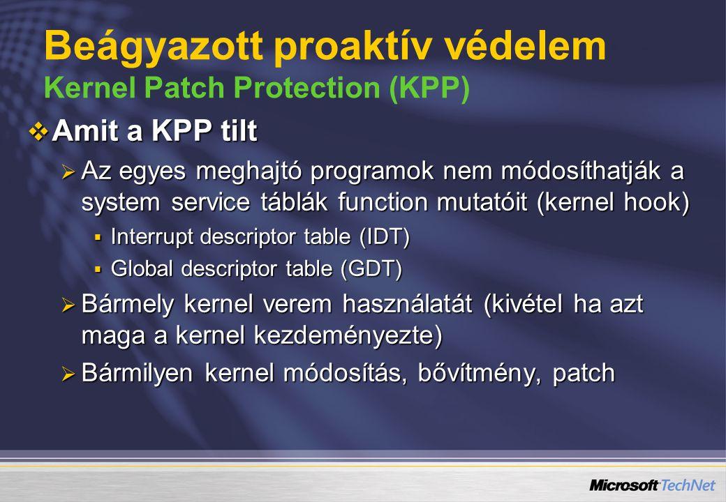 Beágyazott proaktív védelem Kernel Patch Protection (KPP)