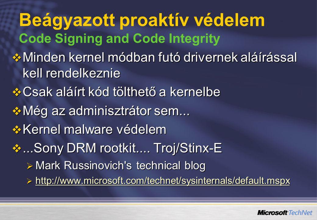 Beágyazott proaktív védelem Code Signing and Code Integrity