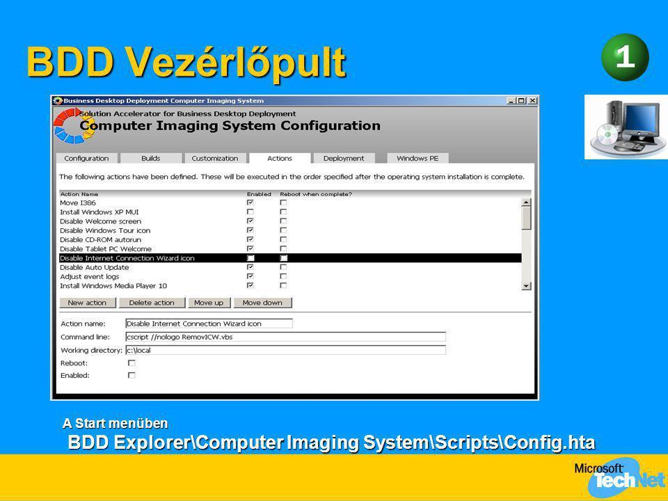 """BDD Vezérlőpult Meséljük el, hogy a BDD-t telepíteni kell egyetlen konfigurációs állománya Config.HTA, az az ami """"látszik a BDD-ből."""