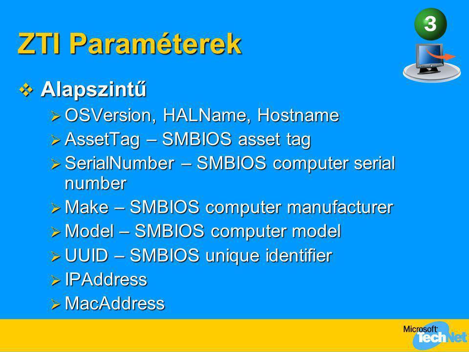 ZTI Paraméterek Alapszintű OSVersion, HALName, Hostname