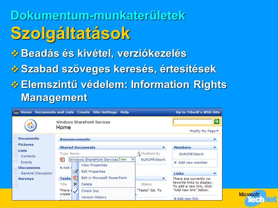 Dokumentum-munkaterületek Szolgáltatások