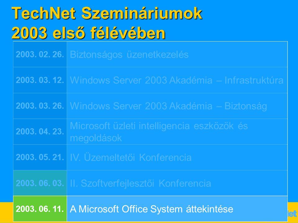 TechNet Szemináriumok 2003 első félévében