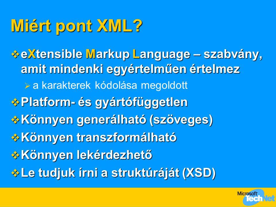Miért pont XML eXtensible Markup Language – szabvány, amit mindenki egyértelműen értelmez. a karakterek kódolása megoldott.